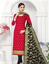 image of Fancy Fabric Red Color Festive Wear Lace Work Suit With Banarasi Dupatta