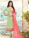image of Ayesha Takia Green Color Long Length Party Wear Georgette Salwar Kameez