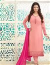 image of Ayesha Takia Peach Color Party Wear Salwar Kameez in Georgette Fabric