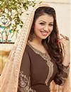 photo of Designer Party Wear Georgette Salwar Kameez in Brown Color Featuring Ayesha Takia