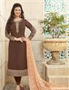 image of Designer Party Wear Georgette Salwar Kameez in Brown Color Featuring Ayesha Takia