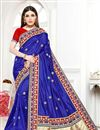 image of Embroidery Work Art Silk Fabric Fancy Wedding Wear Saree In Blue