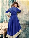 picture of Party Wear Cotton Fabric Anarkali Salwar Suit in Blue Color