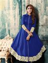 image of Party Wear Cotton Fabric Anarkali Salwar Suit in Blue Color