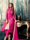 image of Net And Georgette Fabric Designer Salwar Suit in Pink And Beige Color