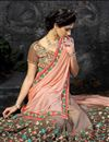 photo of Peach Lycra-Jacquard Designer Embroidered Saree-11