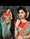 photo of Designer Sky Blue-Grey Embroidered Lycra Saree-110