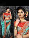 photo of Designer Sky Blue-Grey Embroidered Lycra Saree-110