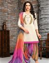 image of Party Style Embroidered Art Silk Patiala Suit In Off White