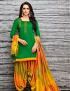 image of Embroidered Fancy Patiala Dress In Art Silk Green Color