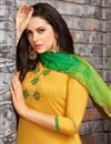 photo of Embellished Fancy Patiala Dress In Art Silk Yellow Color