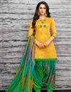 image of Embellished Fancy Patiala Dress In Art Silk Yellow Color