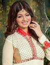 photo of Floor Length Georgette Anarkali Salwar Suit in White Color Featuring Ayesha Takia
