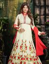 image of Floor Length Georgette Anarkali Salwar Suit in White Color Featuring Ayesha Takia