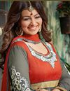 photo of Ayesha Takia Grey Floor Length Embroidered Georgette Anarkali Suit
