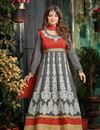 image of Ayesha Takia Grey Floor Length Embroidered Georgette Anarkali Suit