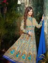 image of Floor Length Embroidered Georgette Anarkali Salwar Suit in Beige Color Featuring Ayesha Takia