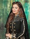 photo of Ayesha Takia Black Color Georgette Anarkali Salwar Kameez with Embroidery