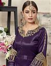 photo of Function Wear Fancy Art Silk Purple Embroidered Designer Anarkali Dress