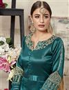 photo of Function Wear Fancy Embroidered Art Silk Designer Teal Long Anarkali Dress