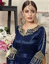photo of Function Wear Fancy Art Silk Embroidered Navy Blue Designer Anarkali Dress