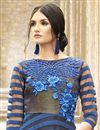 photo of Indo-Western Style Evening Party Wear Satin-Net Gown in Blue-Black Color