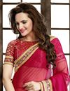 photo of Designer Bemberg-Chiffon Saree with Embroidery in Cream-Pink Color