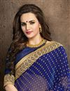photo of Blue-Cream Color Designer Georgette-Jacquard Saree with Embroidery
