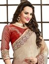 photo of Embroidered Red-Cream Color Designer Saree in Crepe Fabric