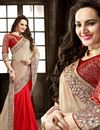 image of Red-Cream Color Designer Crepe Saree with Embroidery