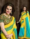 image of Cyan-Yellow Color Designer Saree in Crepe Fabric with Embroidery
