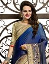 photo of Cream-Blue Color Designer Net-Georgette Saree with Embroidery