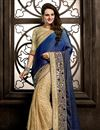 image of Embroidered Cream-Blue Color Designer Saree in Net-Georgette Fabric