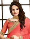 photo of Cream-Pink Color Designer Bemberg-Chiffon Saree with Embroidery