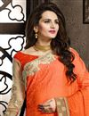 photo of Designer Net Saree with Embroidery in Cream-Orange Color