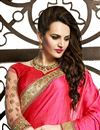 photo of Pink Color Designer Net Fabric Saree with Embroidery