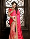 image of Designer Net Saree with Embroidery in Pink Color