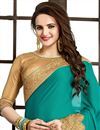 photo of Cyan Color Designer Crepe Fabric Saree with Embroidery
