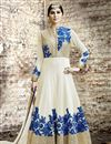 image of Off White Georgette Anarkali Suit with Embroidery