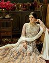 photo of Designer Grey Color Net Fabric Wedding Wear Floor Length Embellished Anarkali Dress Material
