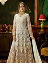 image of Designer Grey Color Net Fabric Wedding Wear Floor Length Embellished Anarkali Dress Material