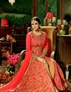 photo of Sangeet Function Wear Red Color Silk Fabric Designer Fancy Long Embroidered Anarkali Suit