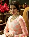 picture of Designer Wedding Wear Peach Color Net Fabric Long Floor Length Embroidered Anarkali Suit