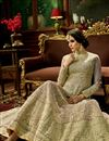 photo of Fancy Wedding Function Wear Mehendi Green Color Silk Fabric Floor Length Embroidered Anarkali Dress