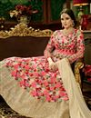 photo of Fancy Wedding Function Wear Pink Color Net Fabric Floor Length Embroidered Anarkali Dress