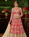 image of Fancy Wedding Function Wear Pink Color Net Fabric Floor Length Embroidered Anarkali Dress