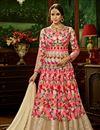 image of Fancy Wedding Function Wear Pink Color Net Fabric Floor Length Embroidered Anarkali Dress