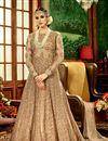 photo of Wedding Function Wear Designer Beige Color Net Fabric Long Embroidered Anarkali Salwar Kameez