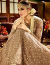 picture of Wedding Function Wear Designer Beige Color Net Fabric Long Embroidered Anarkali Salwar Kameez