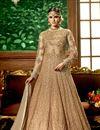 image of Wedding Function Wear Designer Beige Color Net Fabric Long Embroidered Anarkali Salwar Kameez